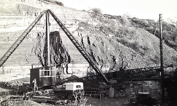 Scotch Derrick Crane, once used to pull stone out of the quarry hole.